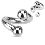 Image of Heavy Large Gauge Twist Spiral Curved Piercing Bar PA