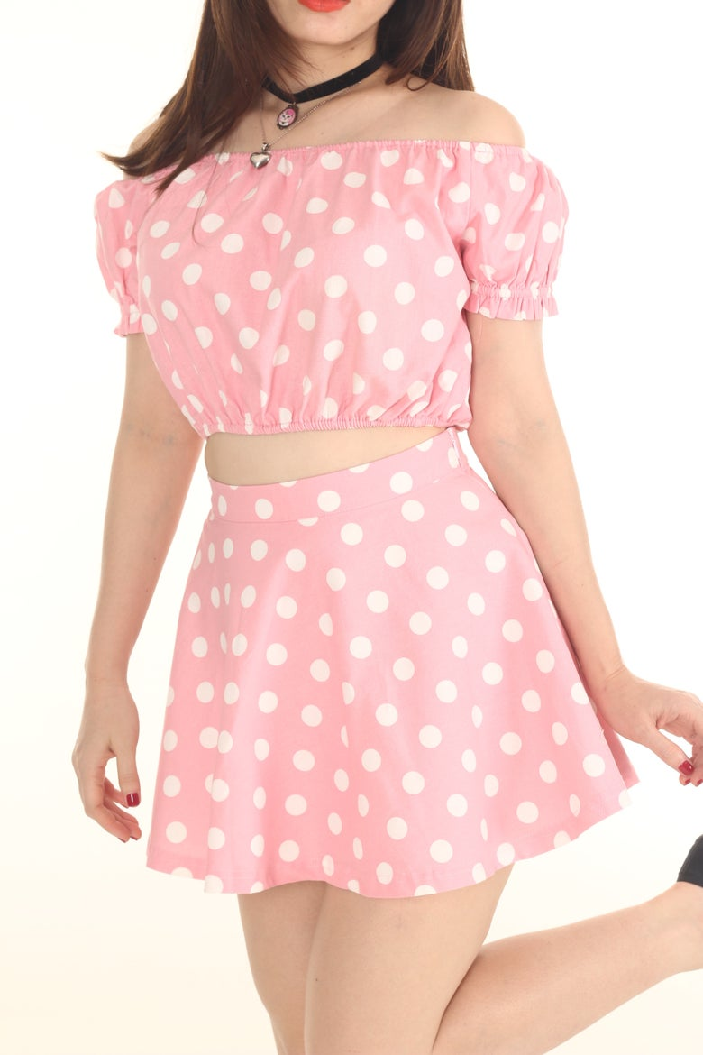 Image of Made To Order - Polka Dot Off Shoulder Set in Pastel Pink