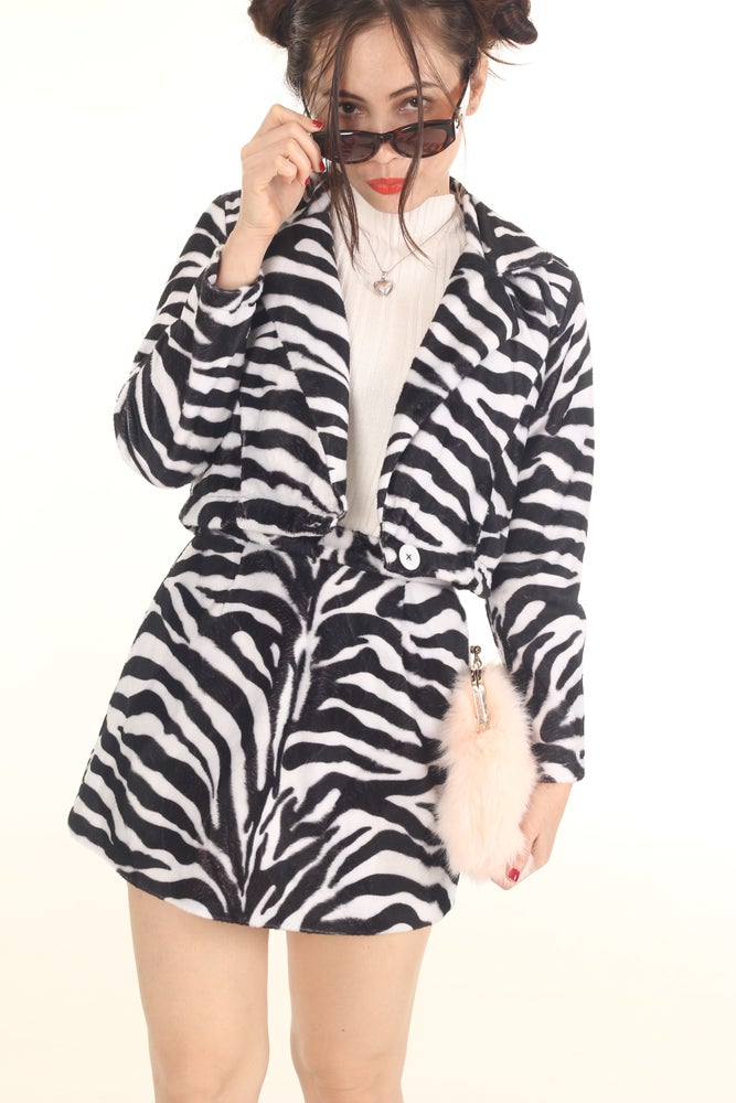 Image of Made To Order - Fran Blazer and Skirt Set in Zebra Print