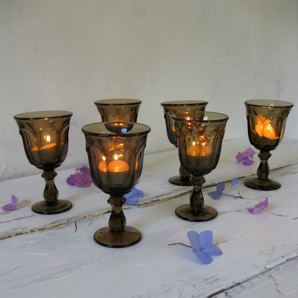 Image of Set of Amber Brown Vintage Glass Goblets