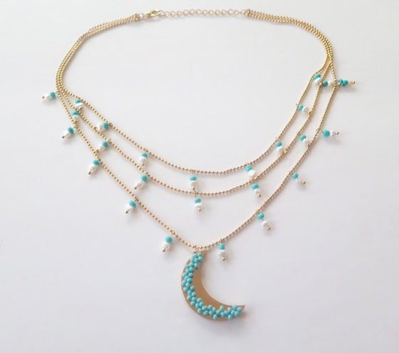 Image of Le Moon Triple Pearls and Turquoise Necklace