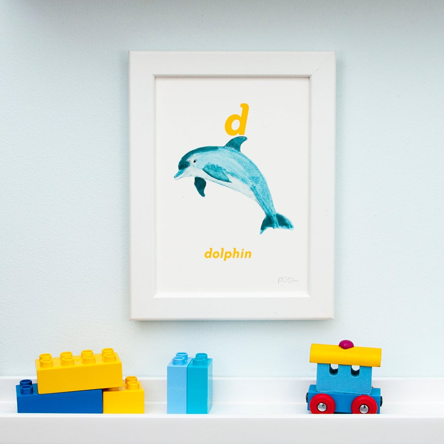 Image of D - Dolphin Letter Print