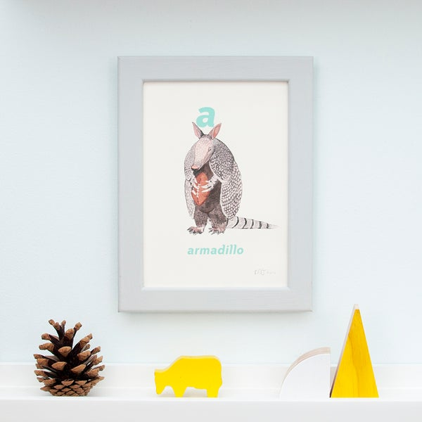 Image of A - Armadillo Letter Print