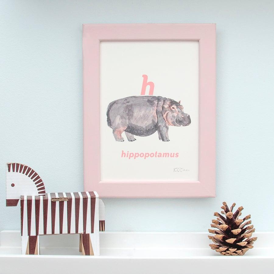 Image of H - Hippopotamus Letter Print