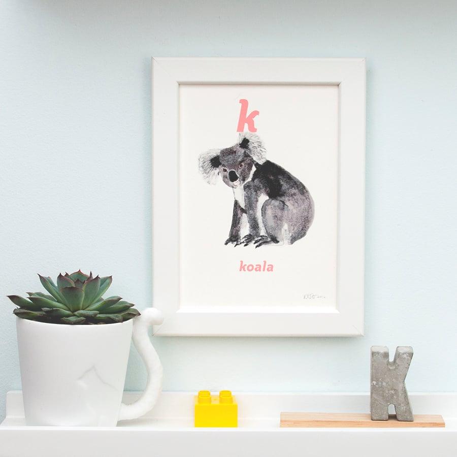 Image of K - Koala Letter Print