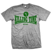 "Image of KILLING TIME ""NYHC"" Green Ink on Heather Gray T-Shirt"