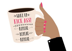 Image of Wake Up. Kick Ass Coffee Cup Print