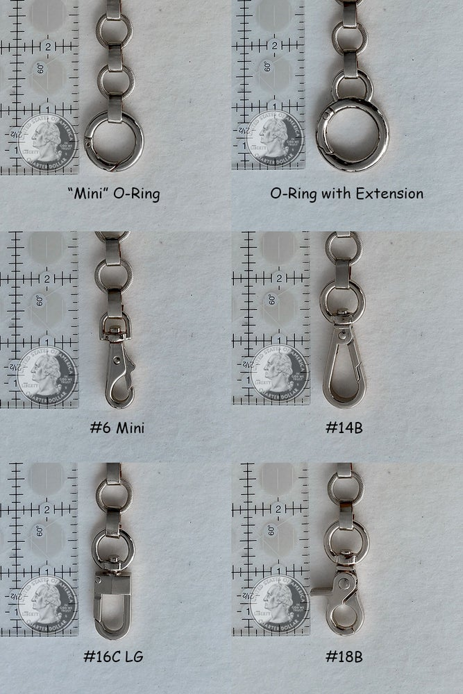 "Image of NICKEL Chain Purse Strap - Elegant Textured Ring Chain - 5/8"" Wide - Choice of Length & Hooks"
