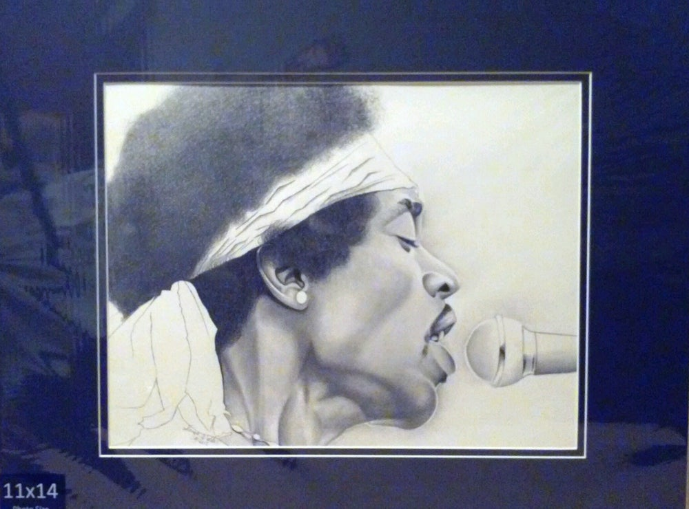 Image of Matted Original Hendrix Drawing