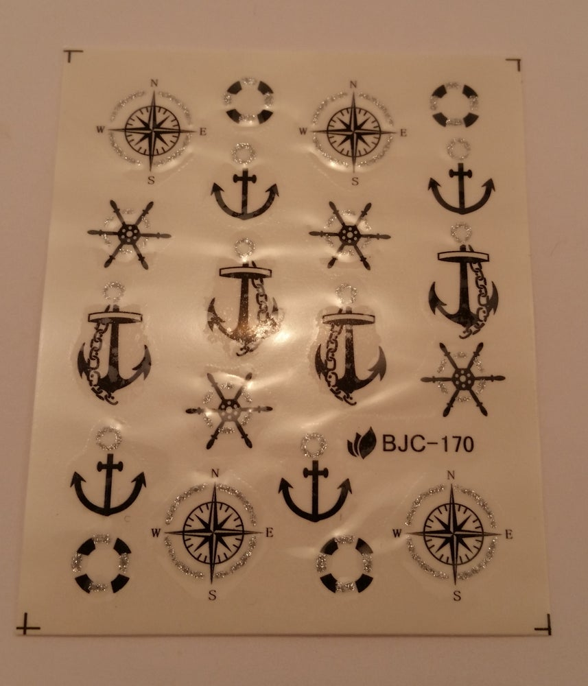 Image of Nautical / sailor themed water decals. Black with glitter accents
