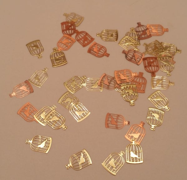 Image of Birdcage nail art slice decor (8x6mm) Gold or Silver