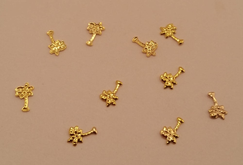 Image of Mini palm tree nail art studs (6x4mm) Gold or Silver