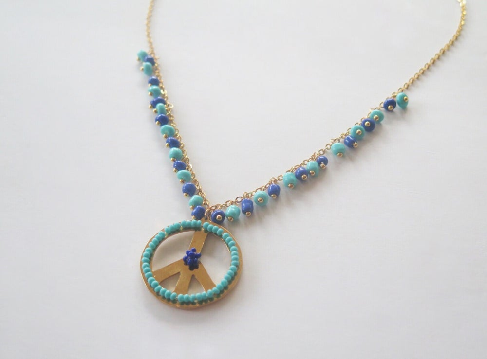 Image of Peace Turquoise and Royal Blue Single Necklace