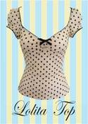 Lolita top /cream and black polka dots