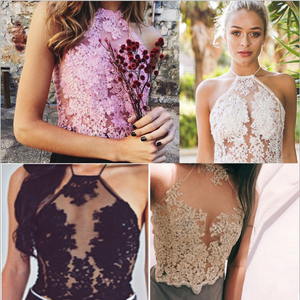Image of Sexy hollow lace embroidery para Halter Spaghetti Top Female