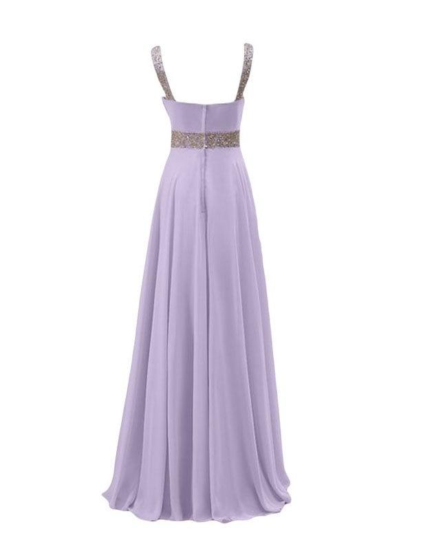 Elegant White Chiffon V-neckline with Sequins  Prom Dresses, Party Dresses