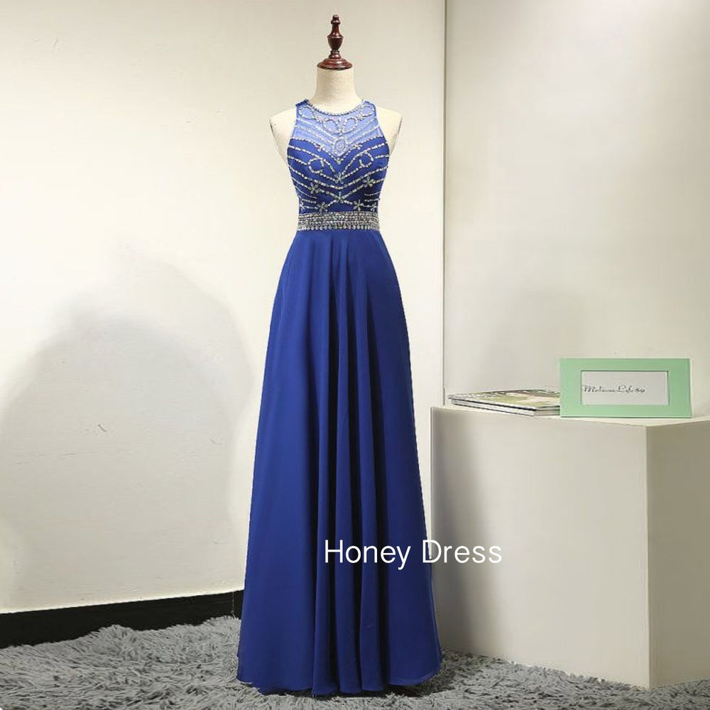 Image of Chiffon Blue Beading Prom Dress,Illusion Sweetheart Nature Long Dress