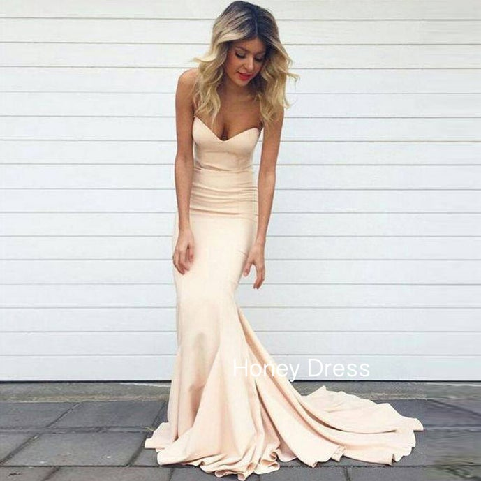 Image of Nude Satin Mermaid Sweetheart Prom Dress,Sheath Sweep Train Prom Gown