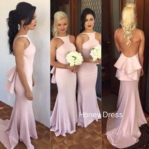 Image of High Neck Pink Mermaid Bridesmaid Dress,Open Back Sweep Train Bridesmaid Dress