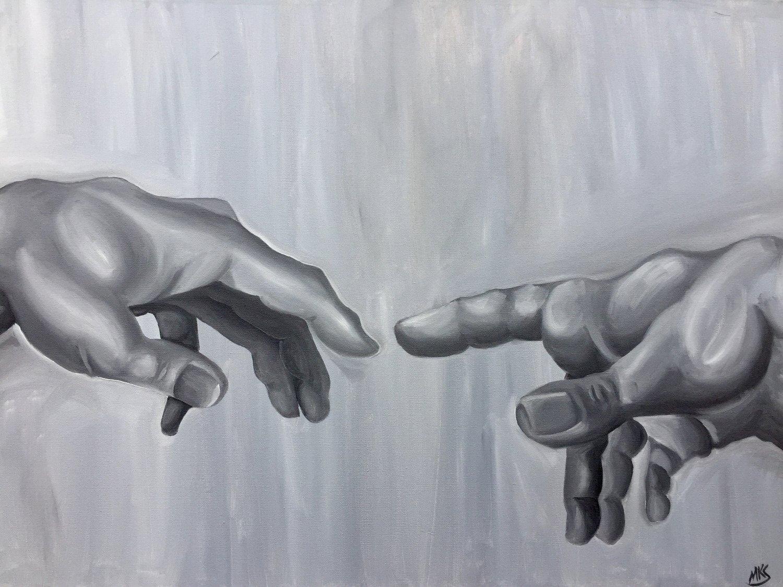 Image of Monochrome   Creation of Adam (Hands)