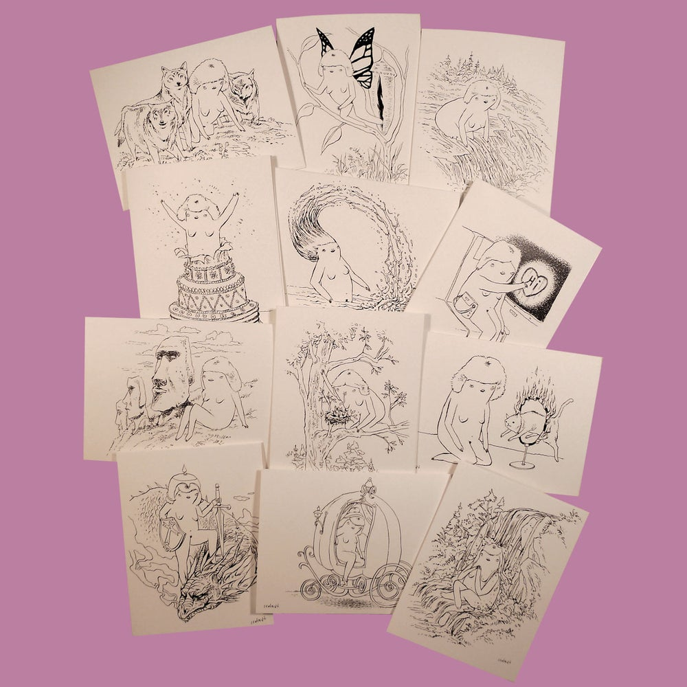 Image of TWENTY FOUR HOUR WOMAN Greeting Cards • series 2