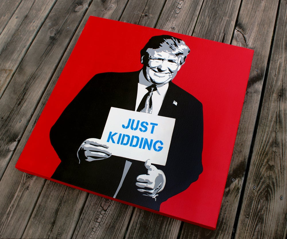 "Image of ""The Troll"" Red Original Stencil On Canvas"