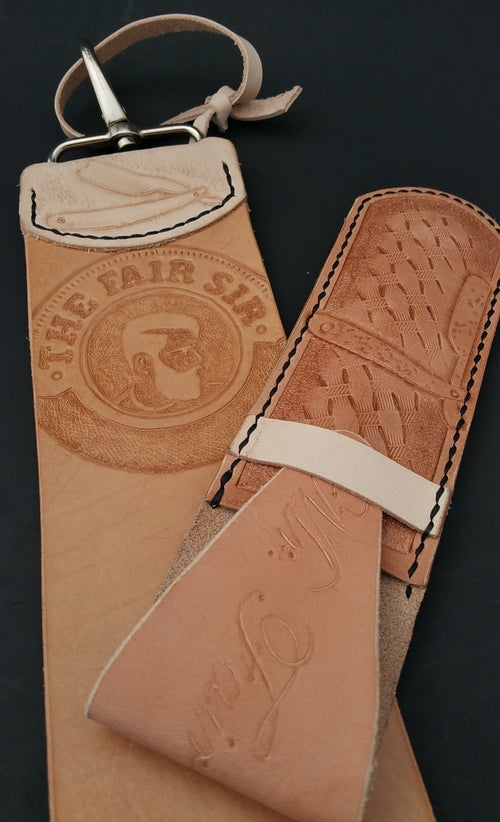 Image of 3 inch deluxe Straight Razor or Knife Strop. Personalized & hand tooled.