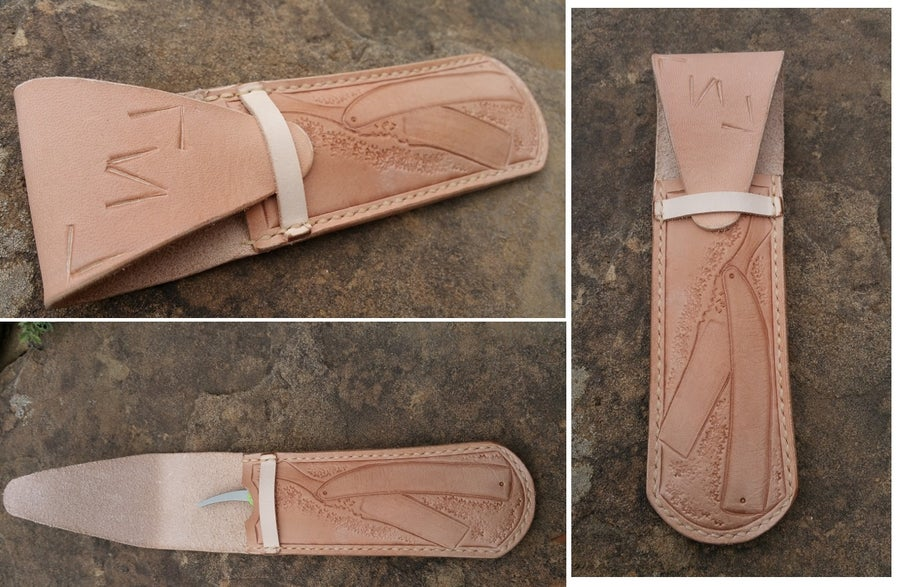 Image of Hand Tooled Leather Straight razor or Double Edge safety razor Sheath, Pouch, Case. Personalized.