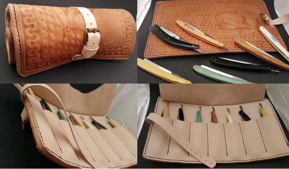 Image of Custom Hand Tooled Leather Straight Razor, Double Edge Razor, etc. travel roll.