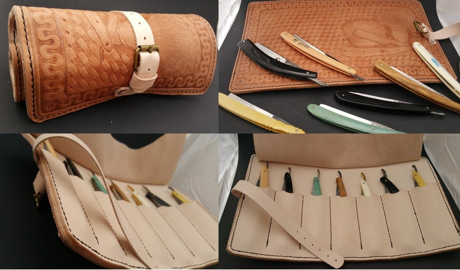 Image of Custom Hand Tooled Leather Straight Razor, Double Edge Razor, etc. travel roll.