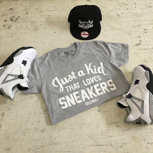 """Image of JUST A KID THAT LOVES SNEAKERS """"GREY/WHITE"""" TSHIRT"""
