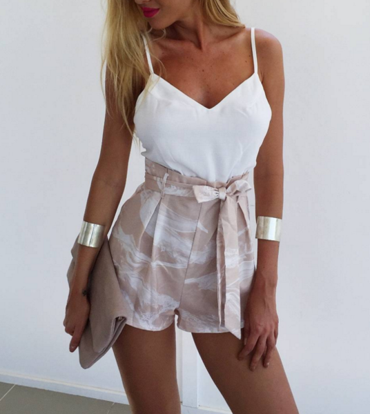 Image of White halter bralet fresh shorts two piece set printing belt