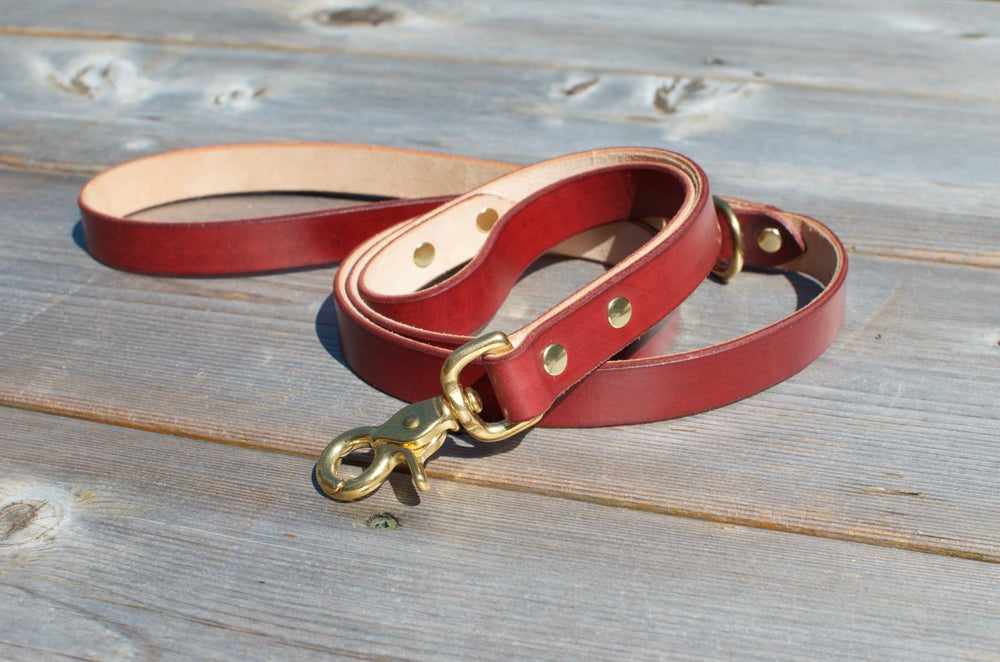 Image of Kodi Boxer Double Handle Leather Dog Lead