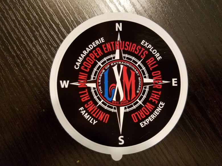 "Image of LXM COMPASS DESIGN STICKER 3"" X 3"""