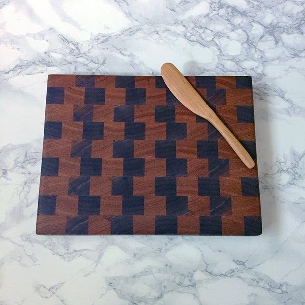 Image of Small cherry and walnut end grain cutting board
