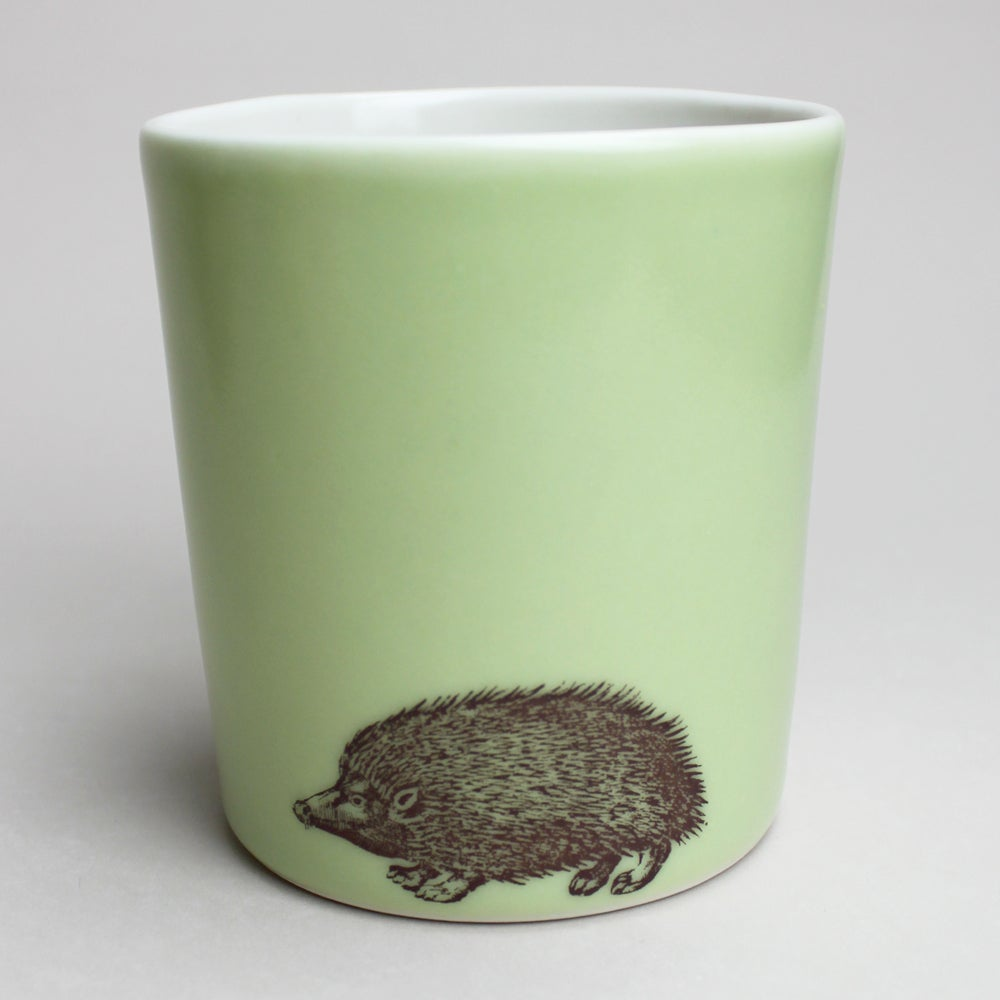 Image of 16oz tumbler with hedgehog, avocado