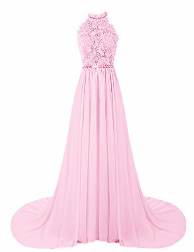 Beautiful Pink Halter Long Chiffon Prom Dress with Lace Applique, Pink Prom Dresses, Party Dresses