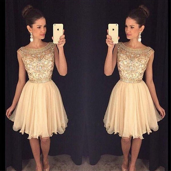 Image of Beading Illusion Homecoming Dress, V Back Crystal Cocktail Dress, Jewel Embellished Sheer Bodice