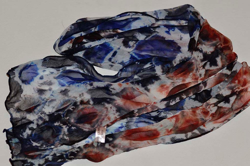 Image of Red White and Blue Silk Shibori Dyed Scarf