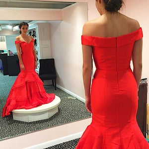 Image of Red Satin Sweetheart Prom Gown,Off The Shoulder Mermaid And Layered Mermaid Skirt Prom Dress