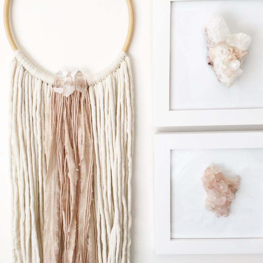 Image of Blush Luxe Quartz - Rattan + Fiber Wall Art