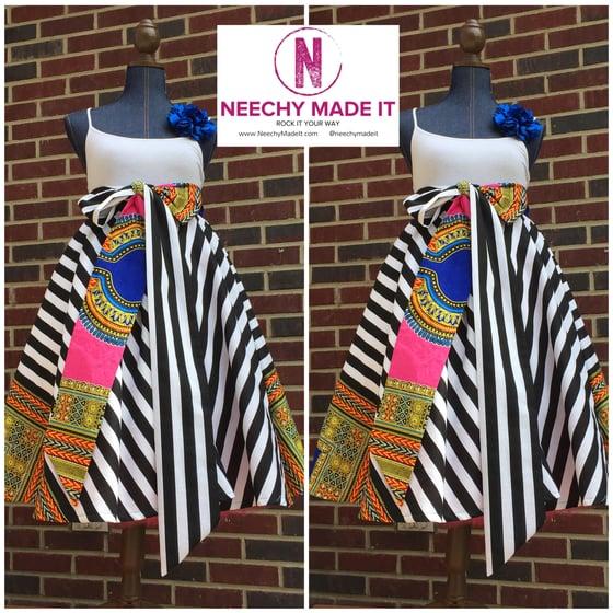 Image of Neechy Mix Print Knee Length Skirt