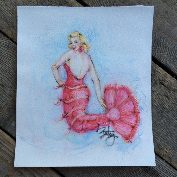 "Image of ""Lobster Monroe"" Original Watercolor Marilyn Monroe Mermaid Art"