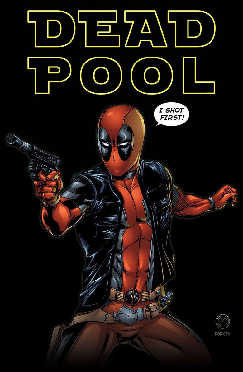 "Image of Deadpool ""I shot first."" Print"