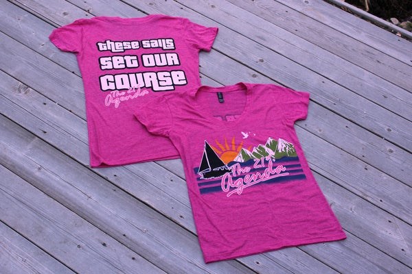 "Image of ""Sails"" Ladies V Neck - Pink"