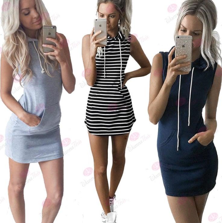 Image of Fashionable stripe sleeveless hooded dress
