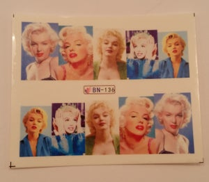 Image of Marilyn Monroe full cover water decals. Several designs