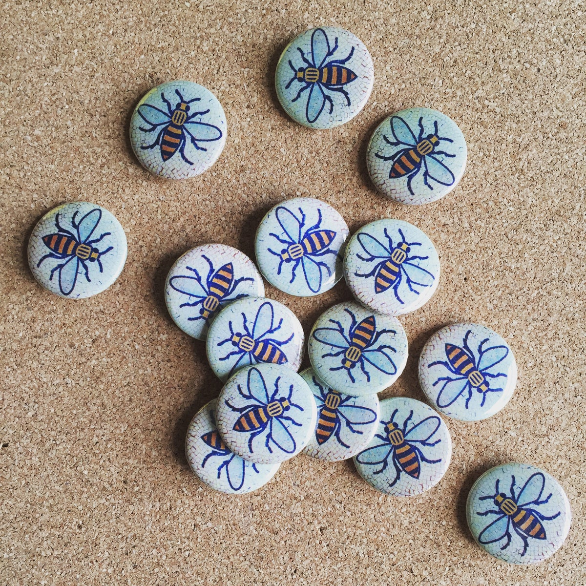 Image of Manchester Bee Tile Button Pin Badge