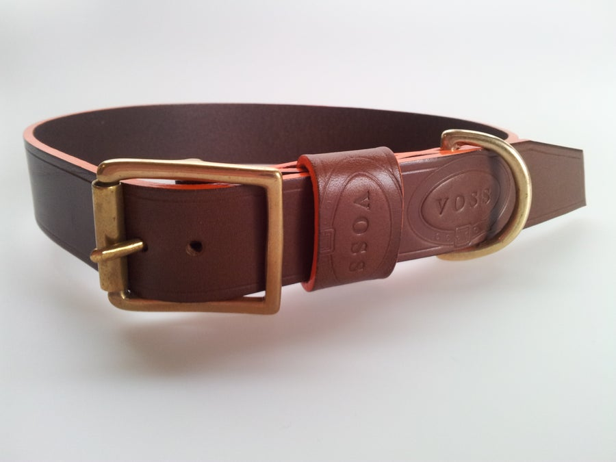 Image of Scroll Dog Collar / Orange Edge Dye / Colour Options