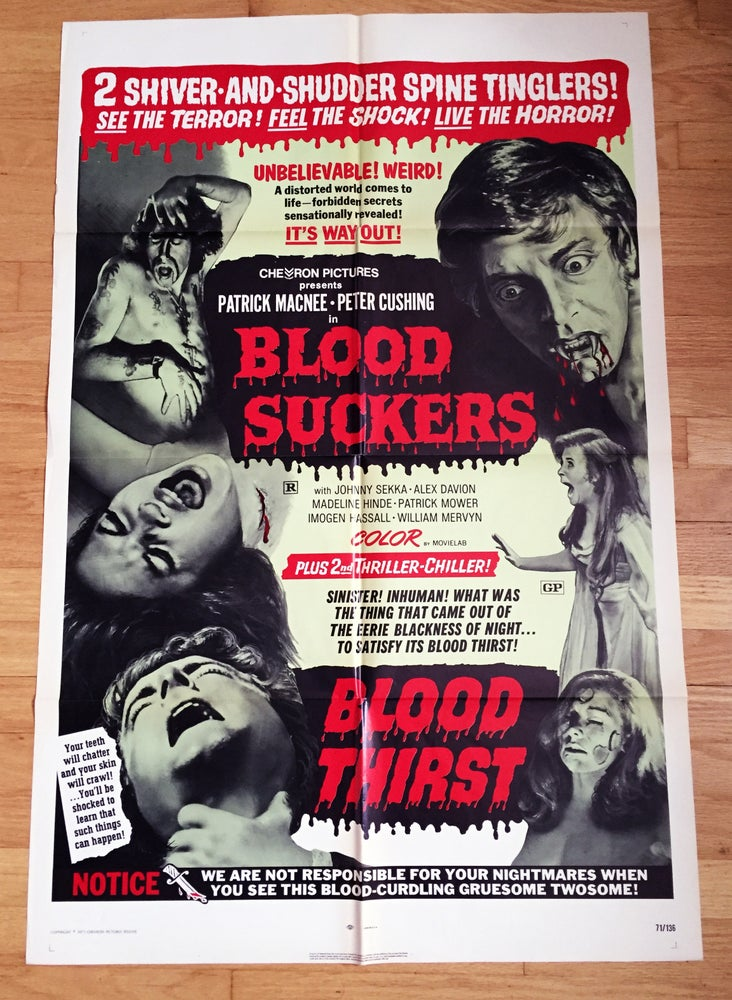 Image of 1971 BLOOD SUCKERS/BLOOD THIRST Original Double Bill U.S. One Sheet Movie Poster